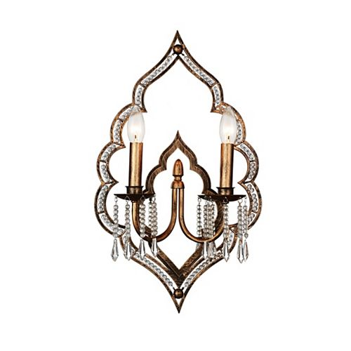 CWI Lighting Seine 14 inch 2 Light Wall Sconce with Champagne Finish and Clear Crystals