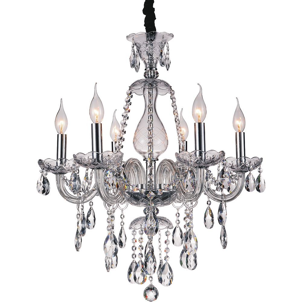 CWI Lighting Charlize 24 inch 6 Light Chandelier with Chrome Finish