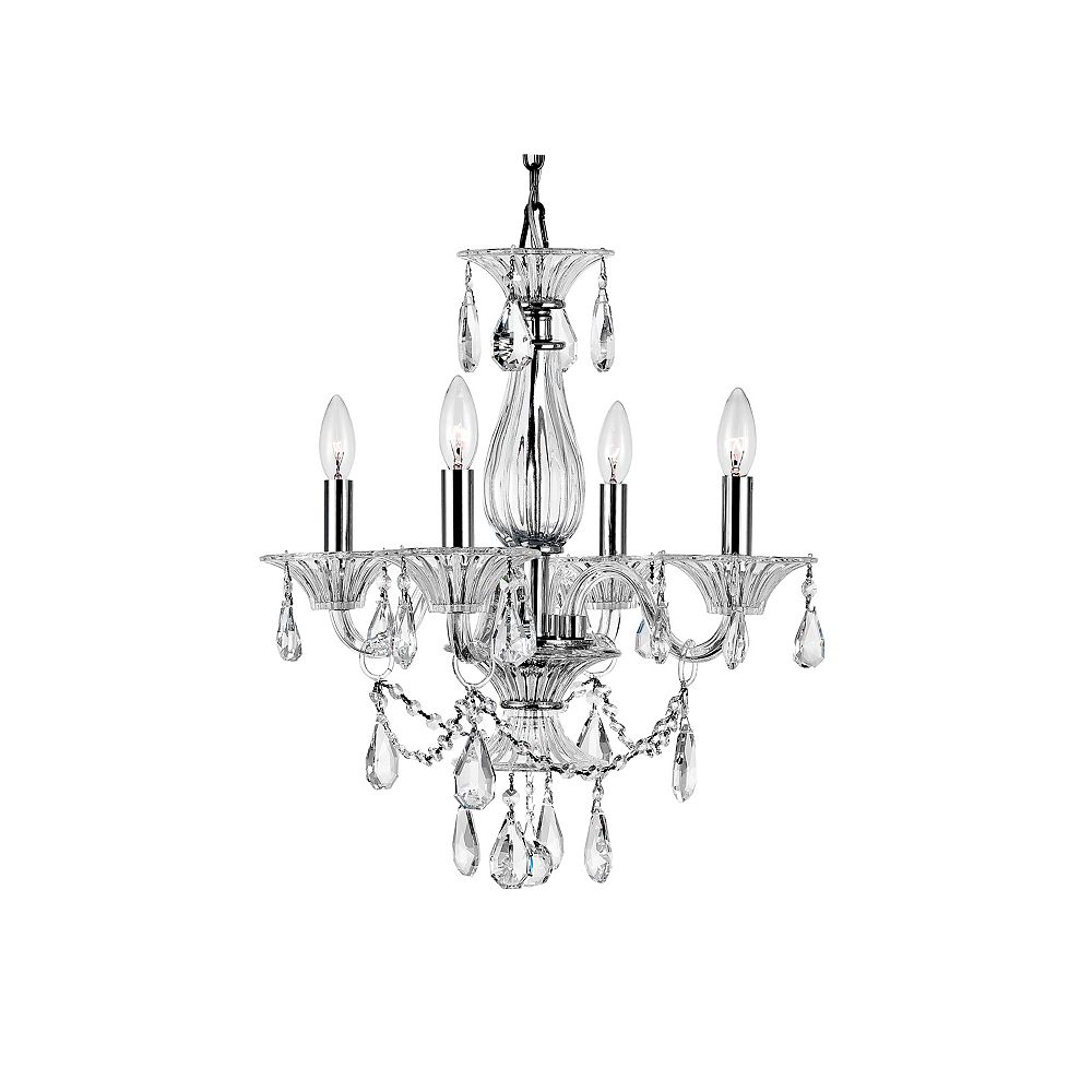 CWI Lighting Lexis 20 inch 4 Light Chandelier with Chrome Finish