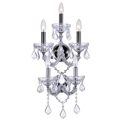 CWI Lighting Maria Theresa 14 inch 5 Light Wall Sconce with Chrome Finish