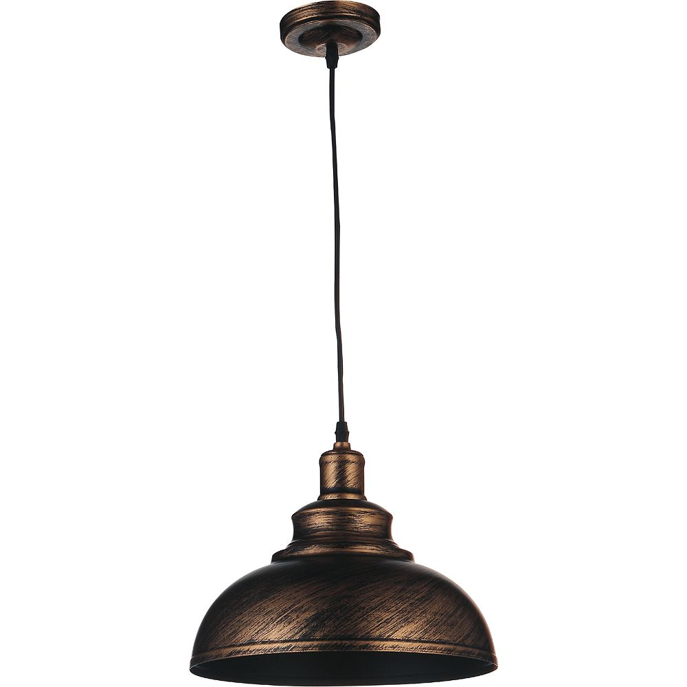 CWI Lighting Vogel 18 inch Single Light Pendant with an Antique Copper finish and simple industrial style shade