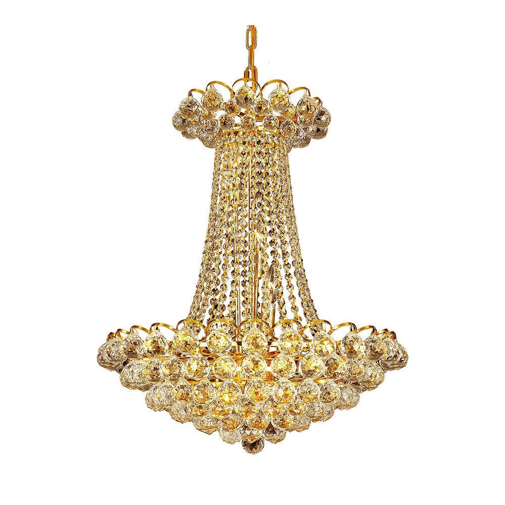 CWI Lighting Glimmer 16 inch 11 Light Chandelier with Gold Finish