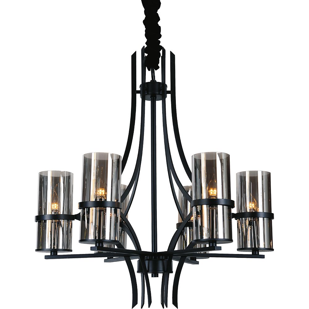 CWI Lighting Vanna 27-inch 6 Light Chandelier with Black Finish
