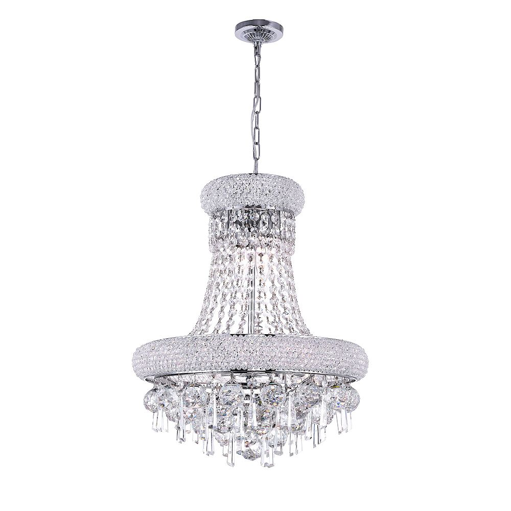 CWI Lighting Kingdom 16 inch 6 Light Chandelier with Chrome Finish