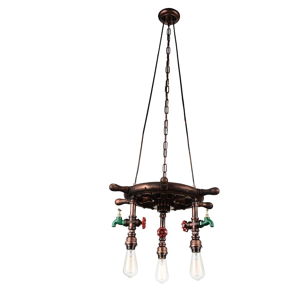 CWI Lighting Manor 22 inch 3 Light Chandelier with Speckled copper Finish