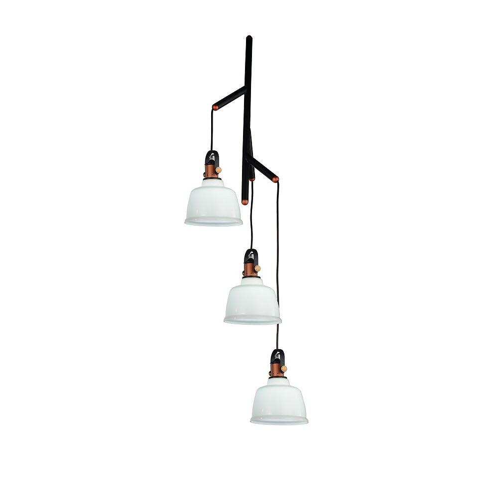CWI Lighting Tower Bell 23 inch 3 Light Chandelier with White Finish