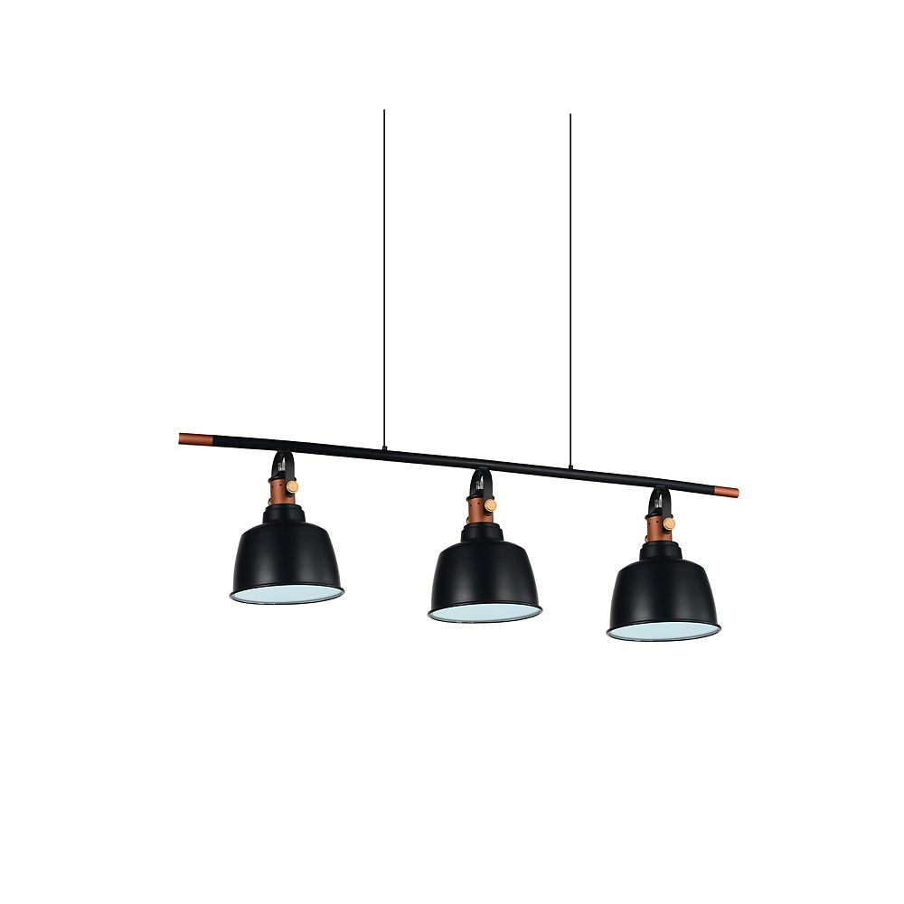 CWI Lighting Tower Bell 8 inch 3 Light Chandelier with Black Finish
