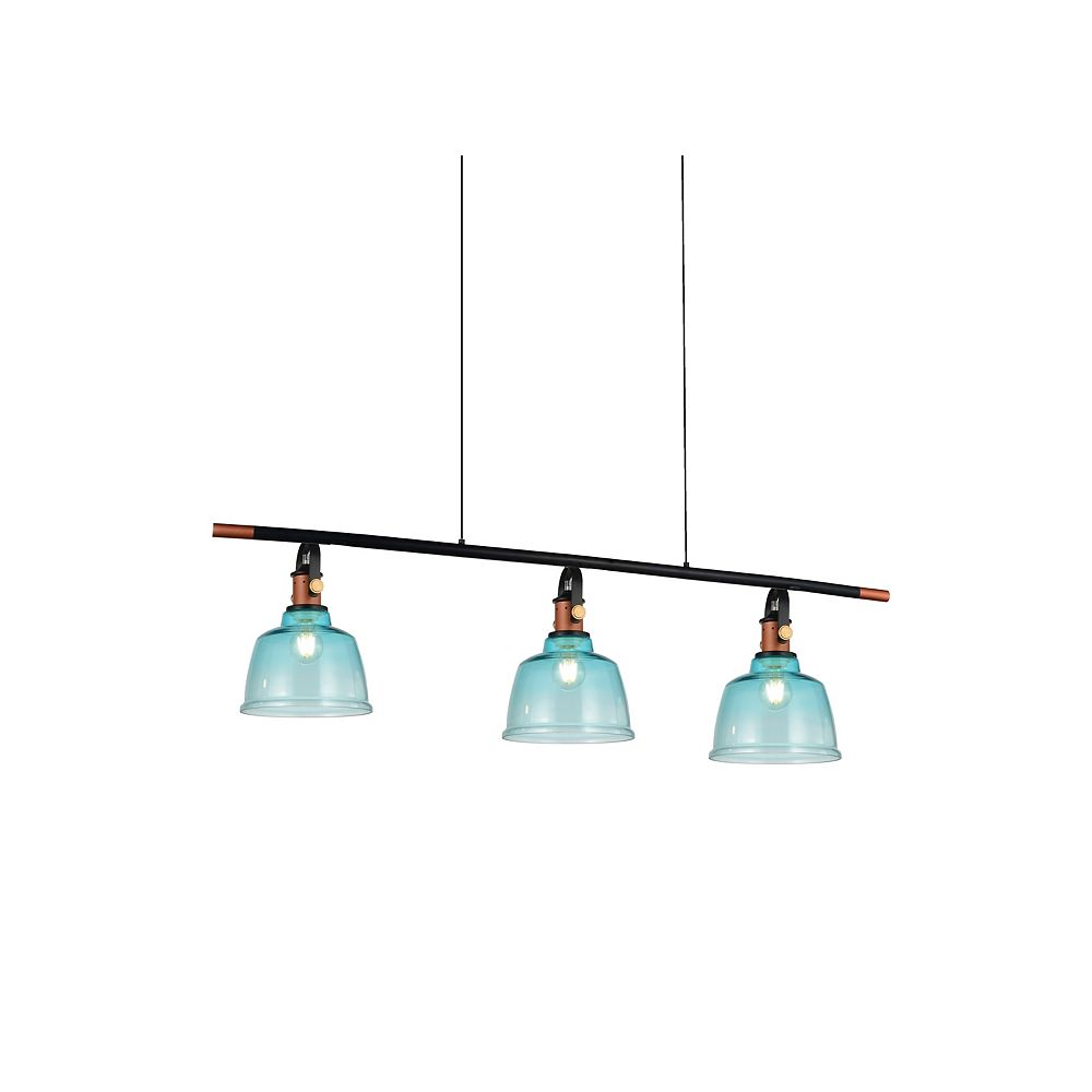 CWI Lighting Tower Bell 47 inch 3 Light Chandelier with Blue Finish
