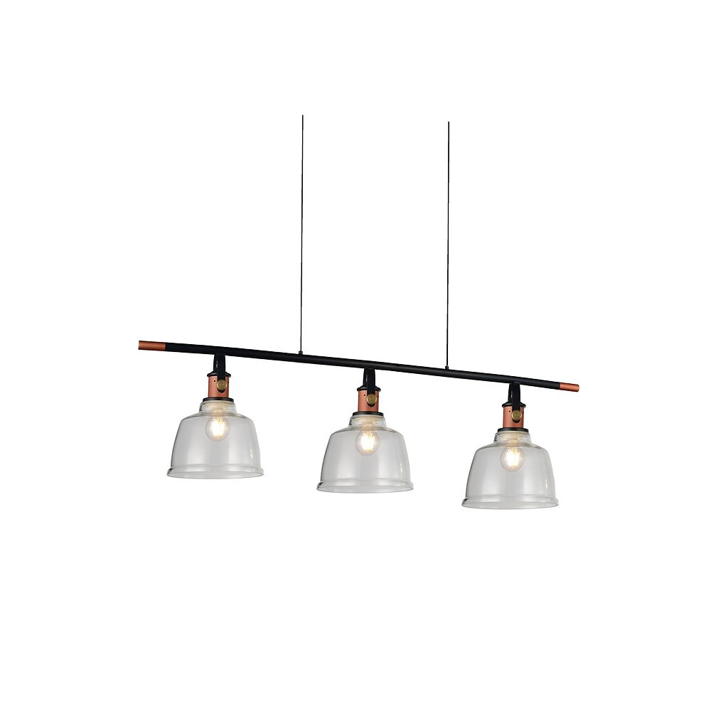 CWI Lighting Tower Bell 47 inch 3 Light Chandelier with Smoke Finish