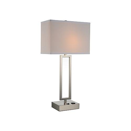 Lampe de table à 1 ampoule Torren, 14 po, nickel satiné