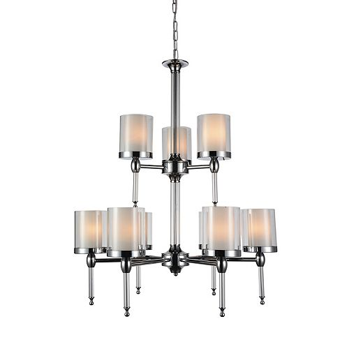CWI Lighting Maybelle 28 inch 9 Light Chandelier with Chrome Finish