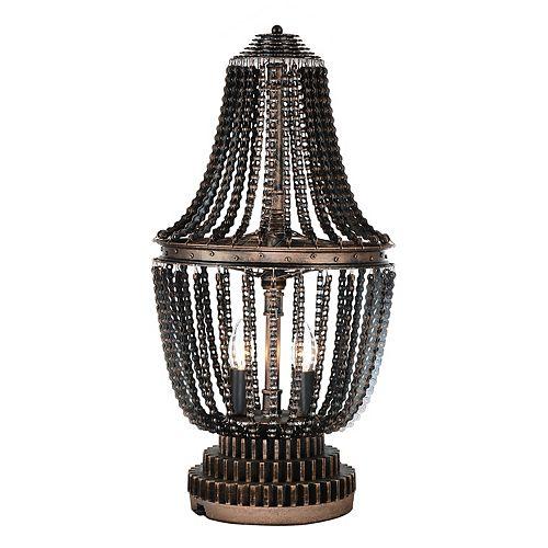 """CWI 13"""" Kala 2 Lumière Lampe de table avec Fini Bronze antique"""