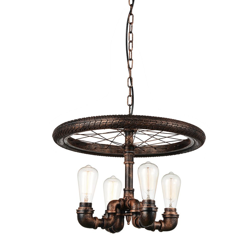CWI Lighting Union 20 inch 4 Light Chandelier with Blackened Copper Finish