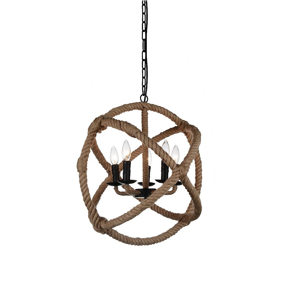 CWI Lighting Padma 21 inch 5 Light Chandelier with Black Finish