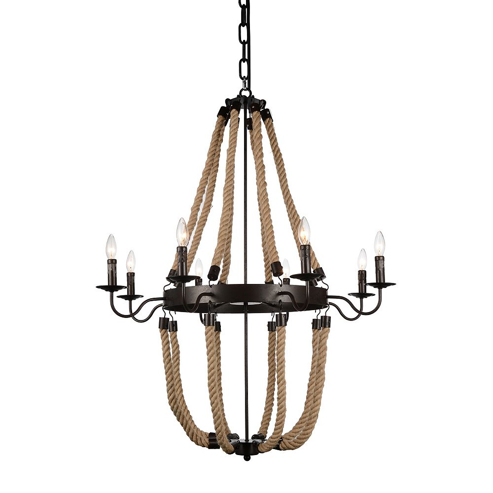 CWI Lighting Dharla 36 inch 8 Light Chandelier with Rust Finish