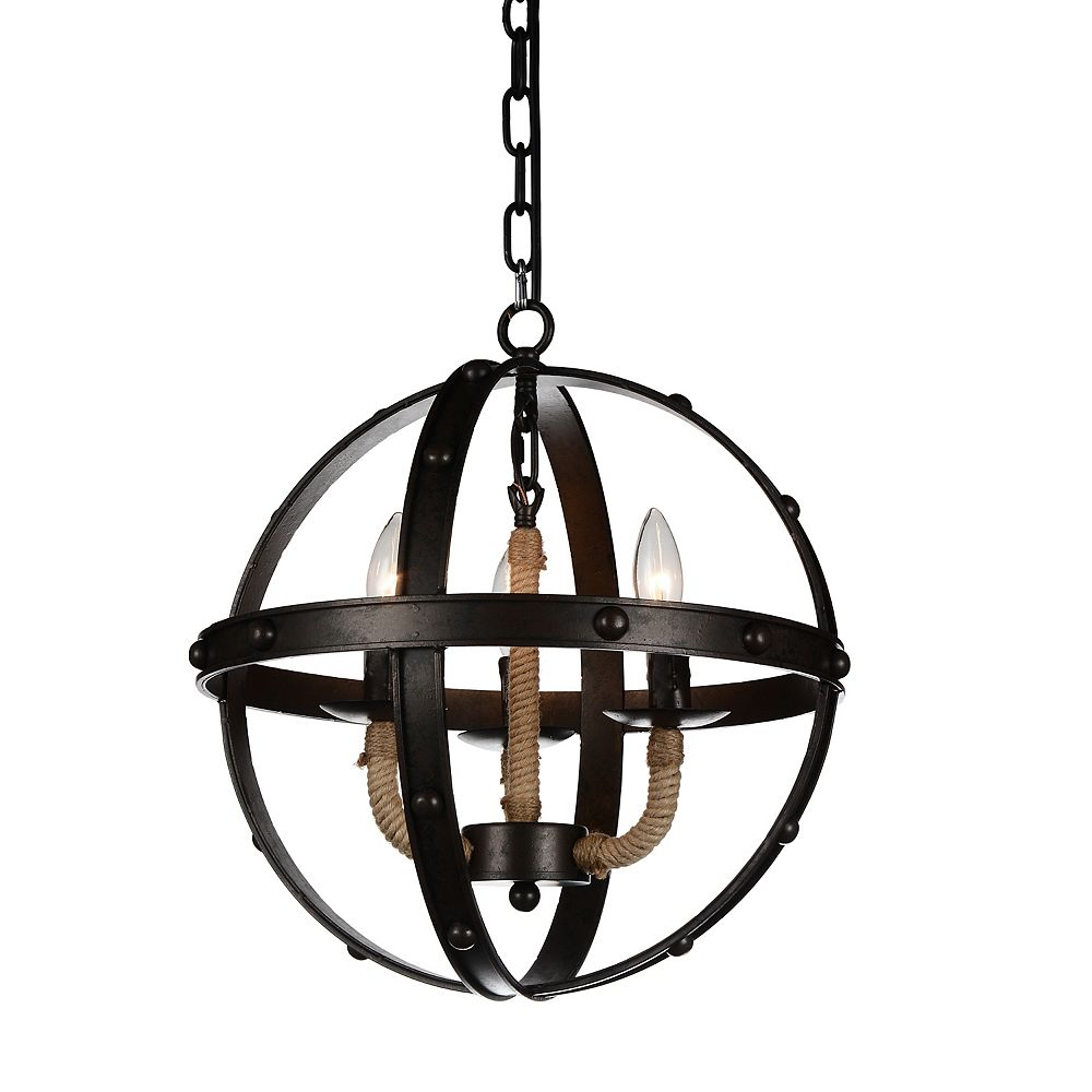 CWI Lighting Surma 17 inch 3 Light Chandelier with Rust Finish