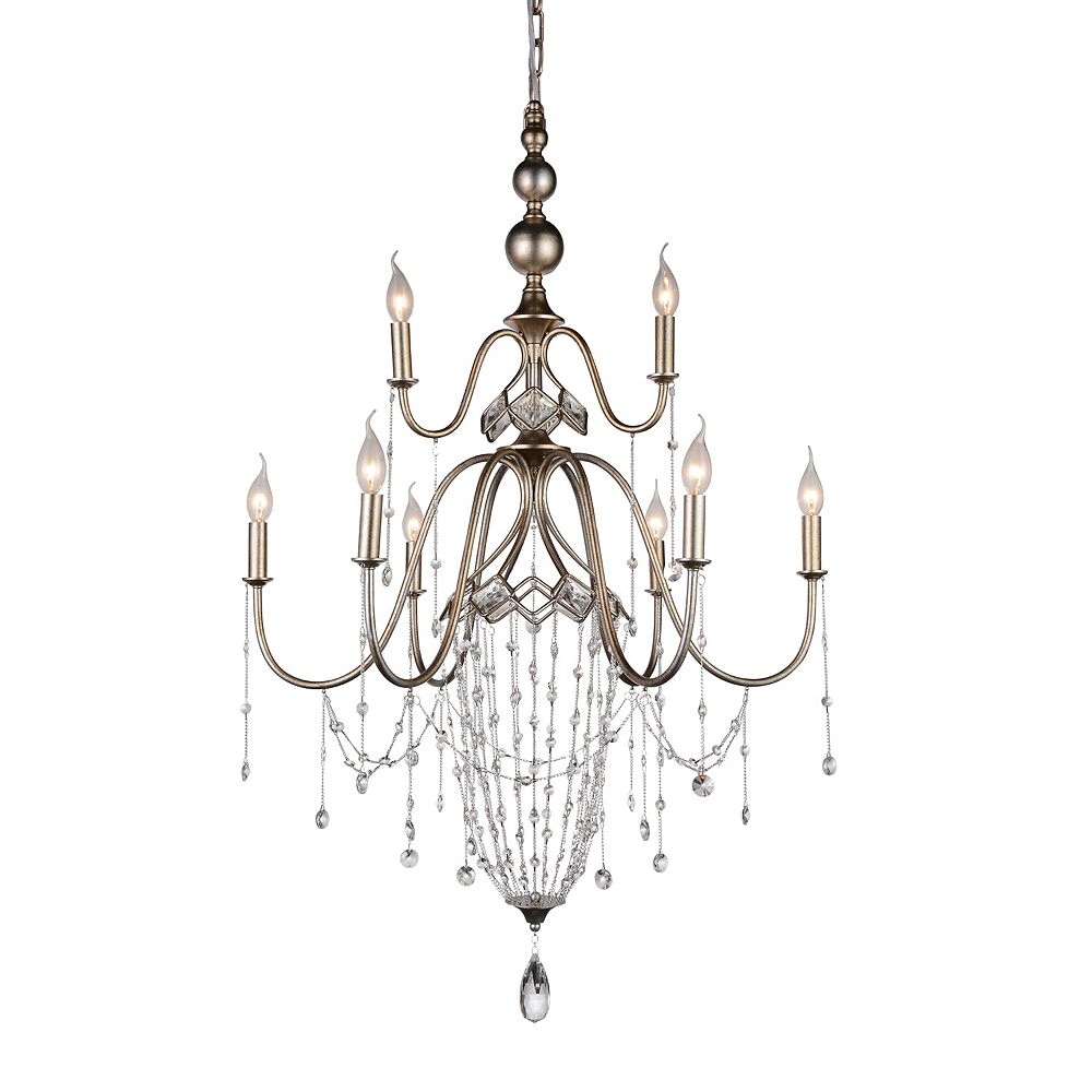 CWI Lighting Pembina 31 inch 9 Light Chandelier with Speckled Nickel Finish