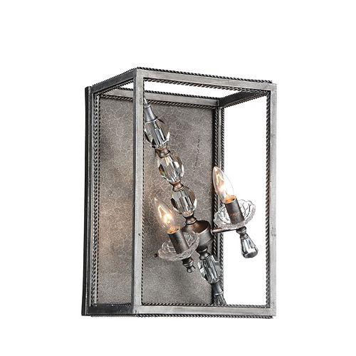 """CWI 9"""" Tapi 2 Lumière Applique murale avec Fini Luxor Fini argent"""