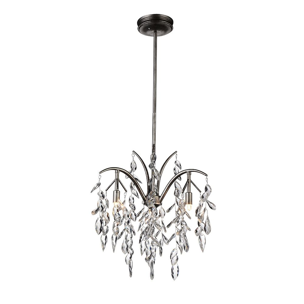 CWI Lighting Napan 17 inch 3 Light Chandelier with Silver Mist Finish