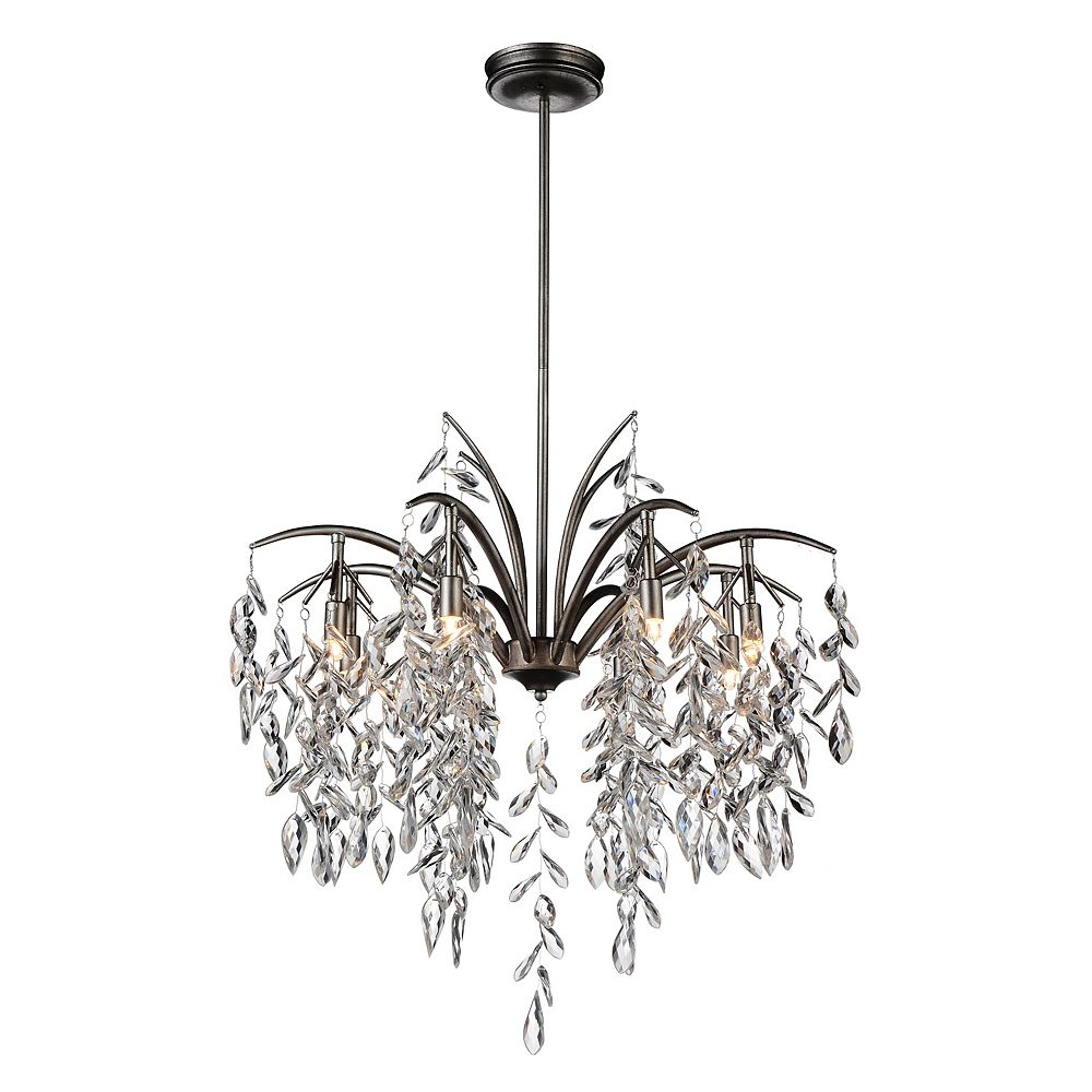 CWI Lighting Napan 25 inch 8 Light Chandelier with Silver Mist Finish