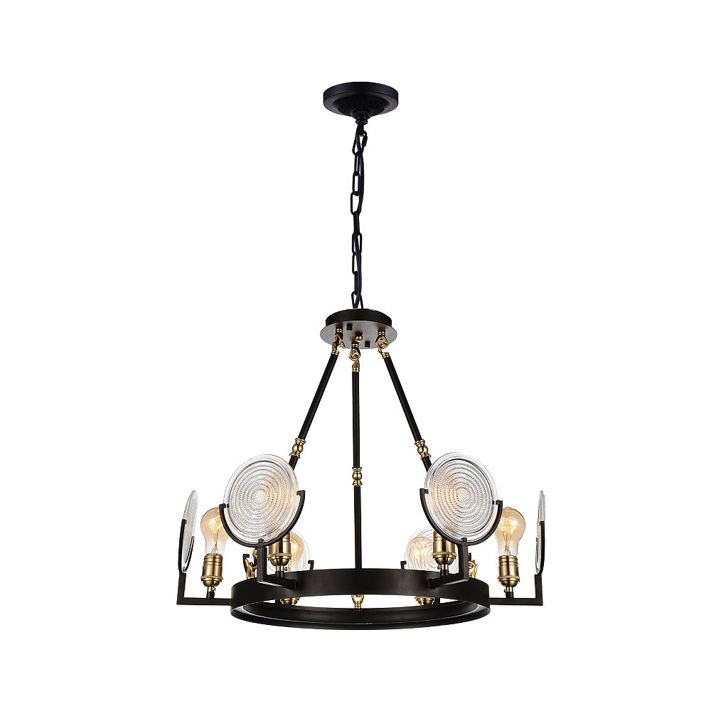 CWI Lighting Bhima 24 inch 6 Light Chandelier with Brown Finish