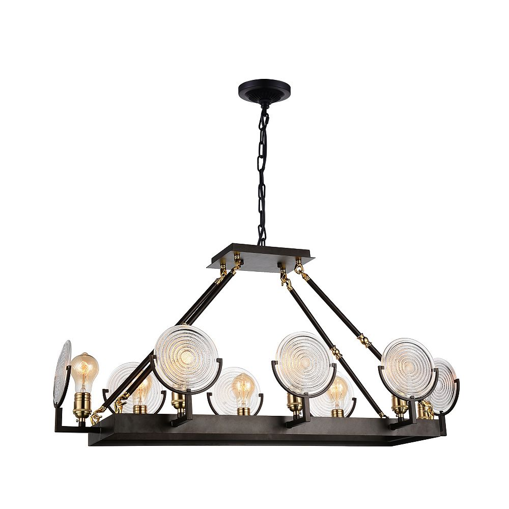 CWI Lighting Bhima 15 inch 8 Light Chandelier with Brown Finish