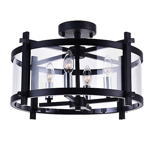 Sierra 18-inch 4-Light Flush Mount Light Fixture with Black Finish
