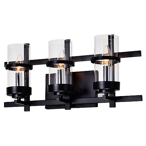 Sierra 6 inch 3 Light Wall Sconce with Black Finish