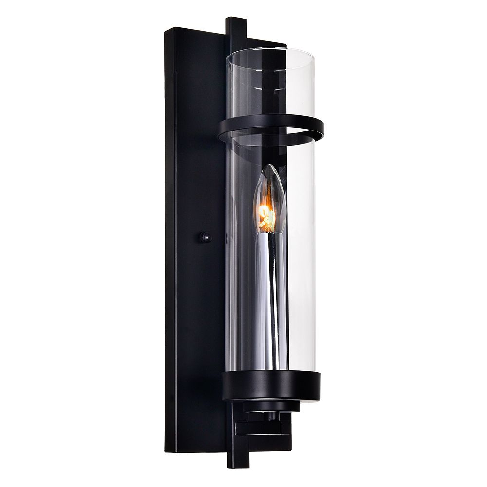 CWI Lighting Sierra 5-inch 1-Light Wall Sconce with Black Finish