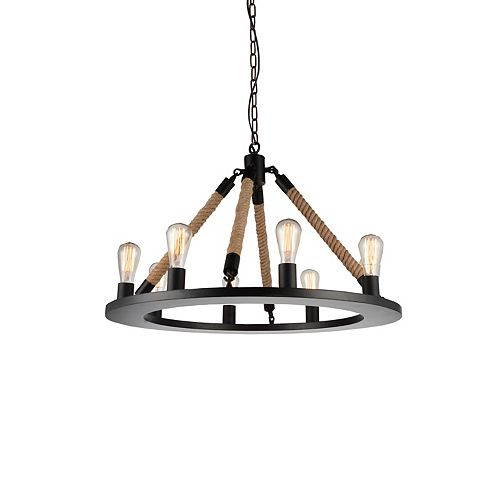CWI Lighting Ganges 32 inch 8 Light Chandelier with Black Finish