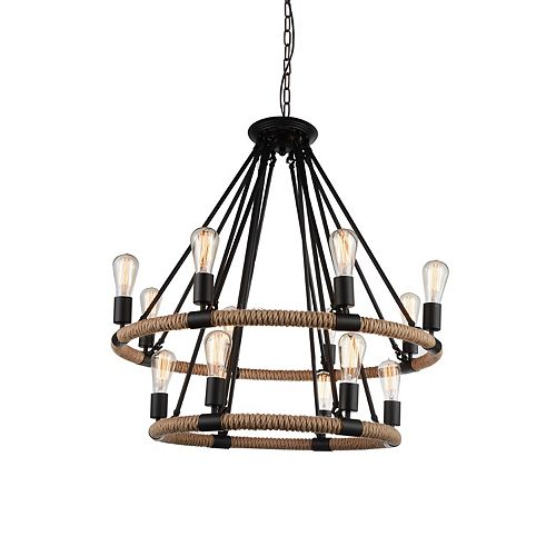 CWI Lighting Ganges 33 inch 14 Light Chandelier with Black Finish