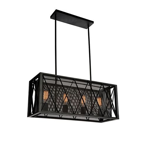 CWI Lighting Tapedia 28 inch 4 Light Chandelier with Black Finish
