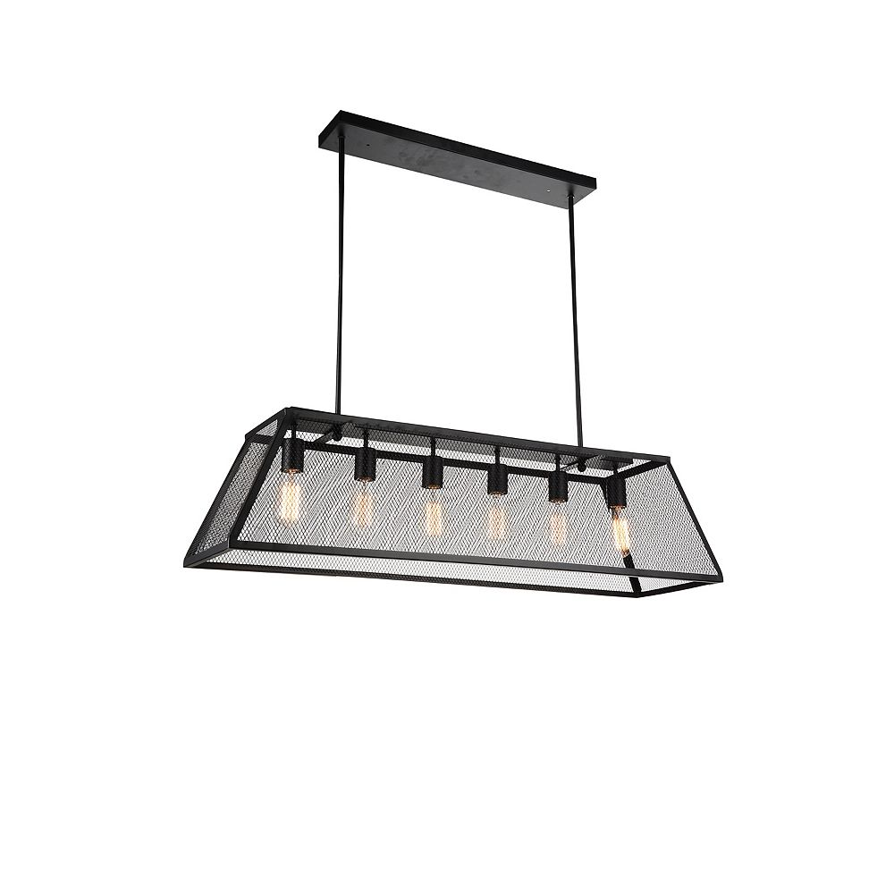 CWI Lighting Macleay 42 inch 6 Light Chandelier with Black Finish
