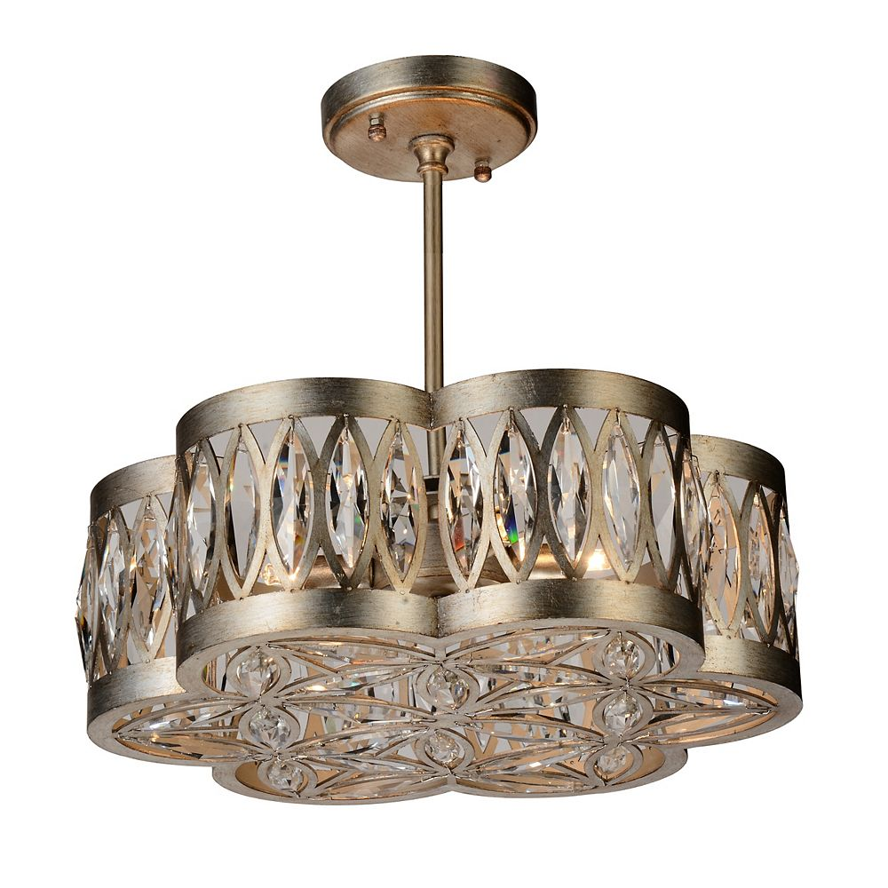 CWI Lighting Nova 16 inch 6 Light Chandelier with Champagne Finish and Clear Crystals