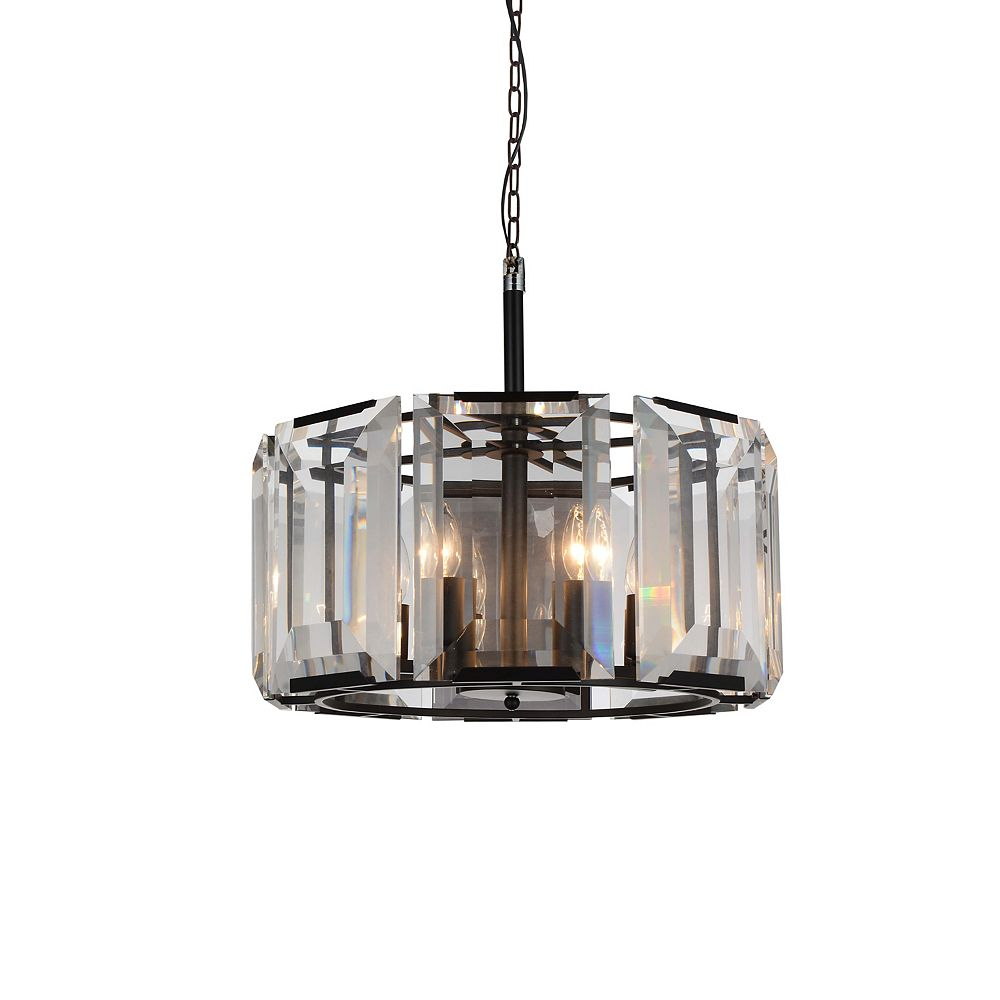 CWI Lighting Jacquet 19 inch 8 Light Chandelier with Black Finish and Clear Crystals