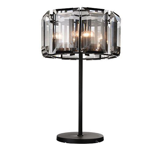 """CWI 19"""" Jacquet 8 Lumière Lampe de table avec Fini Noir and Ombre Clair Crystals"""