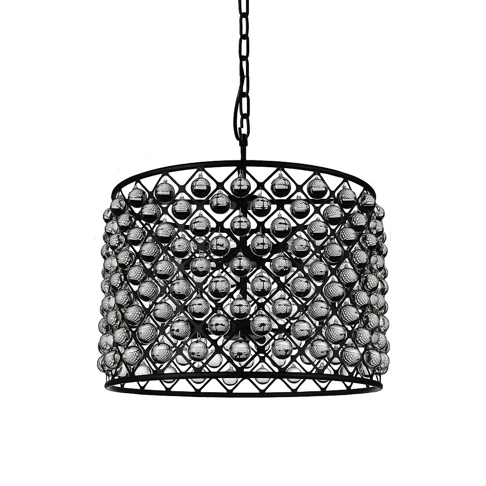 CWI Lighting Renous 28 inch 10 Light Chandelier with Black Finish and Clear Crystals