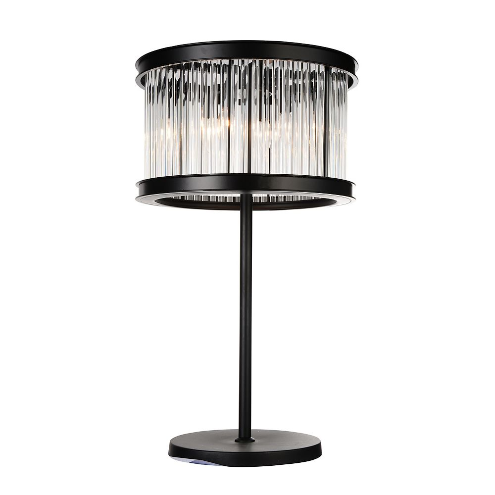 CWI Lighting Mira 18 inch 4 Light Table Lamp with Black Finish and Clear Crystals