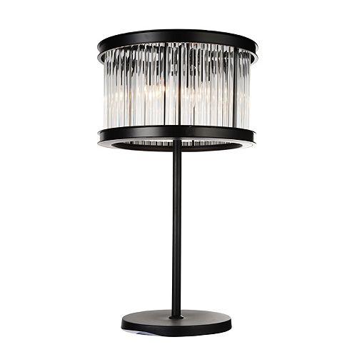 """CWI 18"""" Mira 4 Lumière Lampe de table avec Fini Noir and Ombre Clair Crystals"""