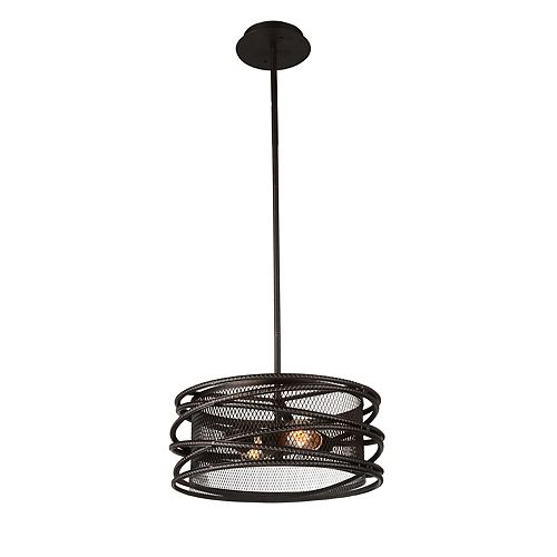 CWI Lighting Darya 15 inch 2 Light Chandelier with Brown Finish