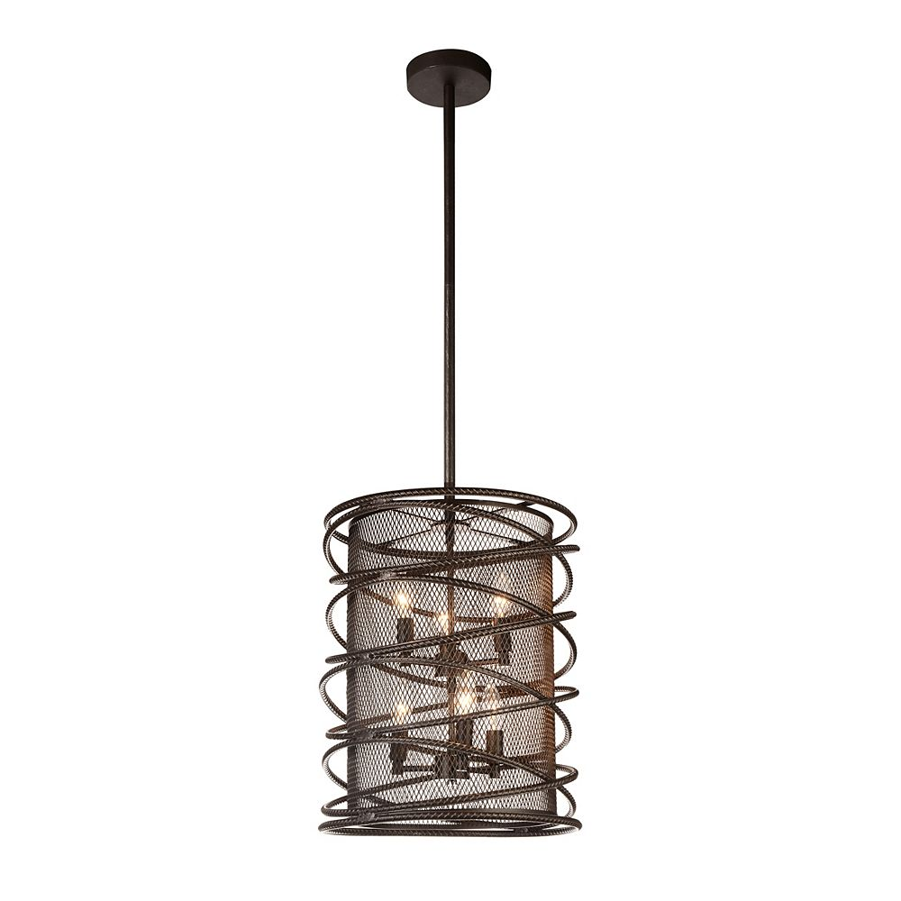 CWI Lighting Darya 15 inch 6 Light Chandelier with Brown Finish