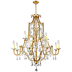 Electra 37-inch 12-Light Chandelier with Oxidized Bronze Finish