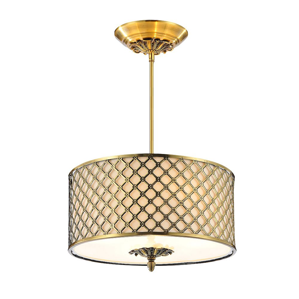 CWI Lighting Gloria 16 inch 3 Light Chandelier with French Gold Finish