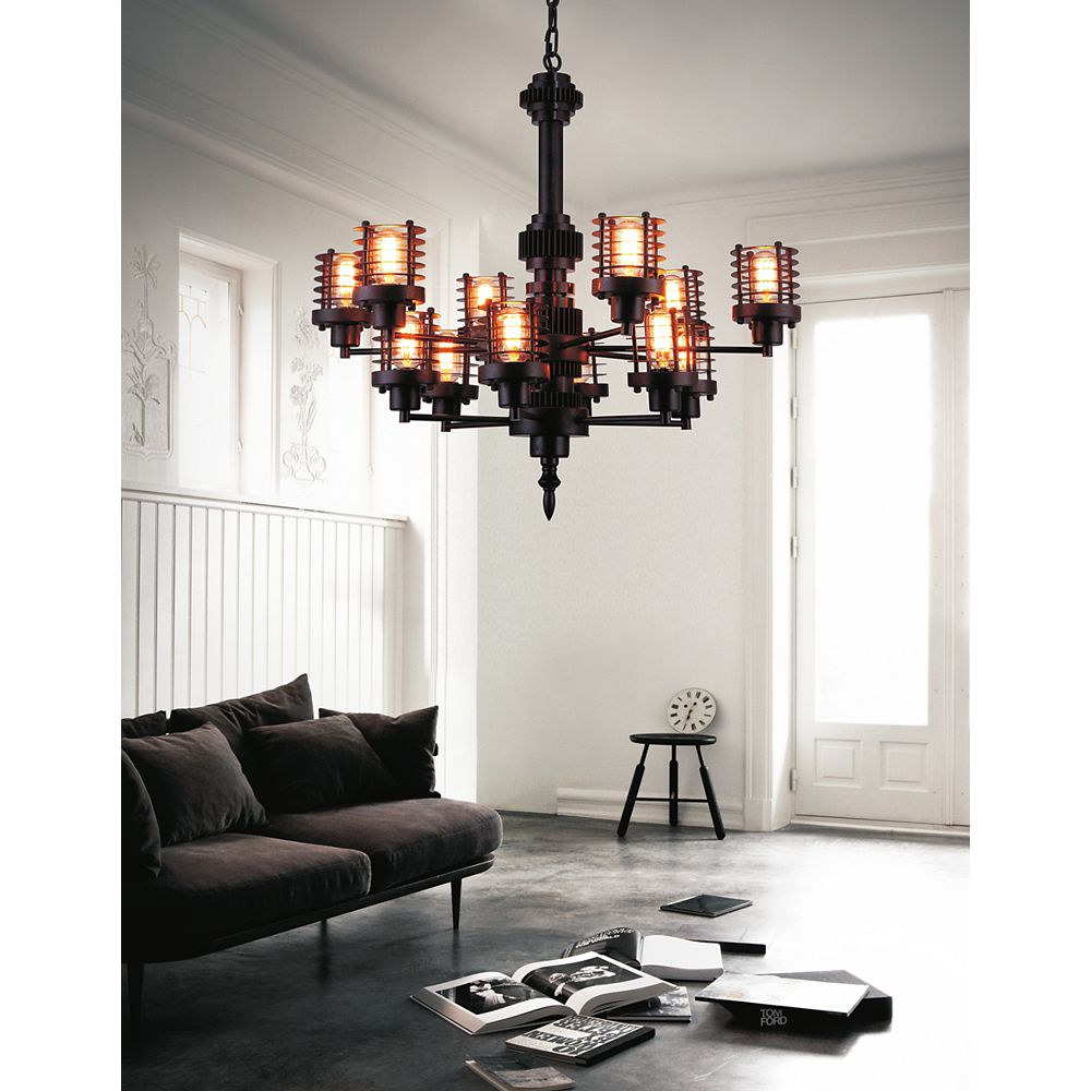 CWI Lighting Norma 30 inch 12 Light Chandelier with Rust Finish