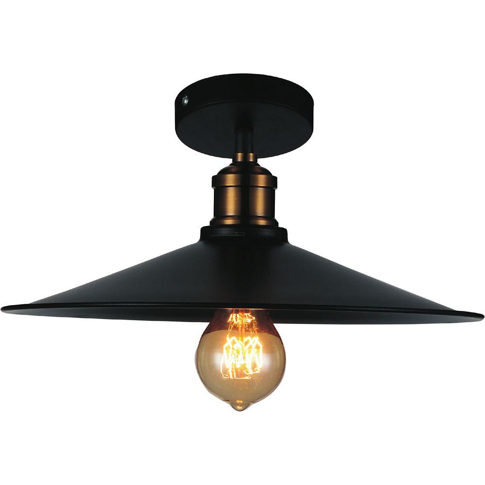 CWI Lighting Brave 13-inch 1-Light Flush Mount Light Fixture in Black Finish