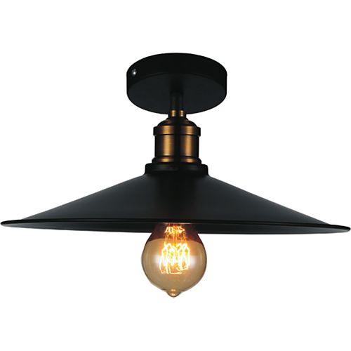 Brave 13 inch 1 Light Flush Mount with Black Finish