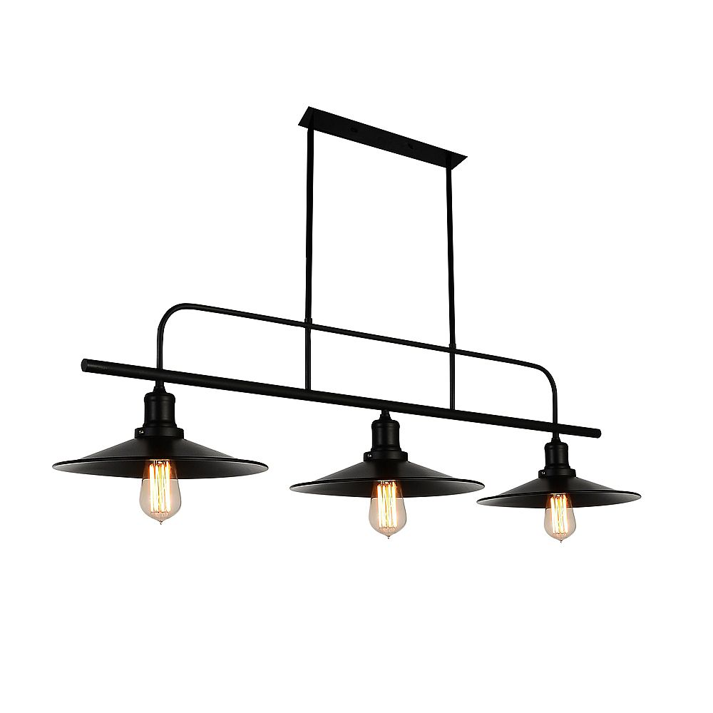CWI Lighting Brave 46 inch 3 Light Chandelier with Black Finish