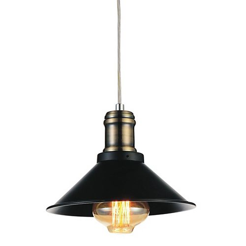Brave 8-inch 1-Light Mini Pendant with Black Finish