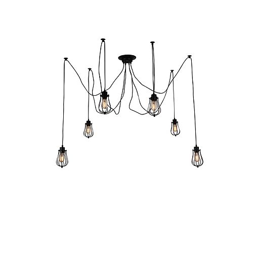 CWI Lighting Tomaso 28 inch 6 Light Chandelier with Black Finish
