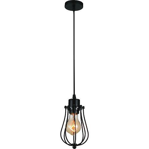 Luminaire suspendu Tomaso à 1 ampoule, 4 po, noir
